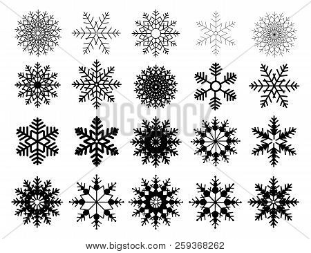 Winter Set Of Black Snowflakes Isolated On White Background. Snowflake Icons. Snowflakes Collection