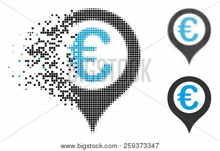 Euro geotargeting icon in fragmented, pixelated halftone and undamaged variants. Elements are combined into vector disappearing Euro geotargeting icon. Disappearing effect uses rectangular dots. stock photo