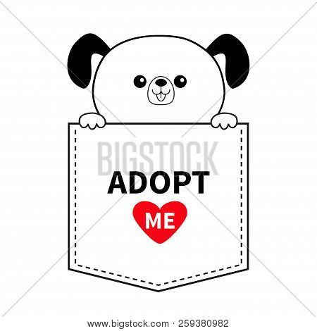 Adopt me. Dog in the pocket. Holding hands. Red heart. Cute cartoon animals. Puppy pooch character. Dash line. Pet animal collection. T-shirt design. Baby background. Flat design Vector illustration stock photo