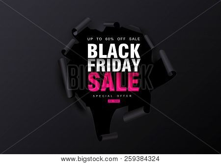 Black Friday Sale Background. Hole In Black Paper. Big Sale, Black Friday, Creative Template. Vector