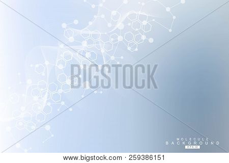 Health care and science pattern medical innovation concept. Structure molecule and communication. Medical, technology, chemistry, science background. Vector illustration. stock photo