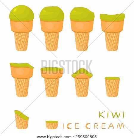 Vector illustration for natural kiwi ice cream on waffle cone. Ice Cream pattern consisting of sweet cold icecream, tasty frozen dessert. Fresh fruit icecreams of kiwi in wafer cones. stock photo