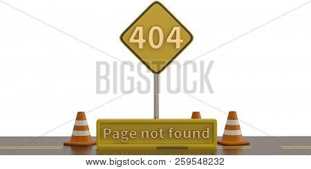 404 error and traffic cones on a white background. 3D illustration. stock photo