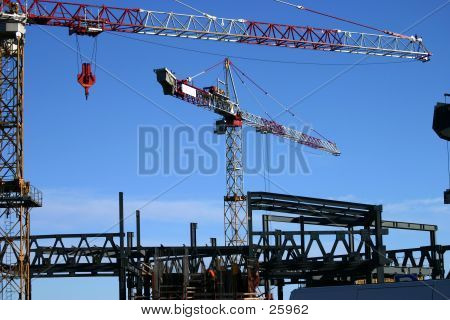 construction site including steel structure and crane  stock photo