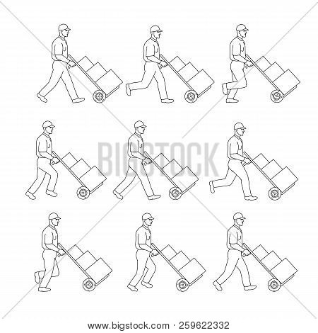 Drawing sketch style illustration of a delivery worker walking pushing a hand cart, pushcart or hand trolley with boxes in walk cycle sequence on isolated background. stock photo