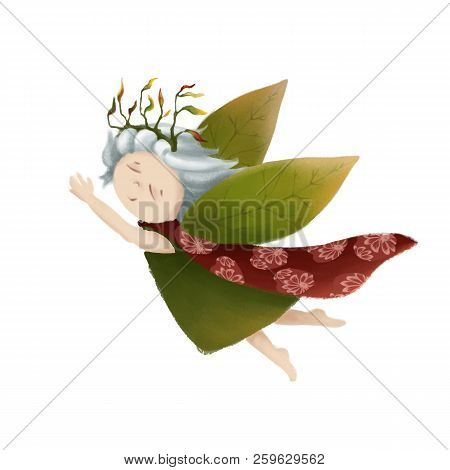A small forest princess. A fairy-tale little girl. A fairy with green wings. Cartoon character. cute child stock photo