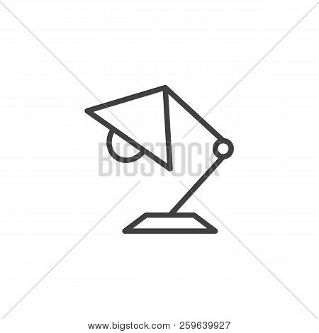 Desk lamp outline icon. linear style sign for mobile concept and web design. Table lamp simple line vector icon. Symbol, logo illustration. Pixel perfect vector graphics stock photo