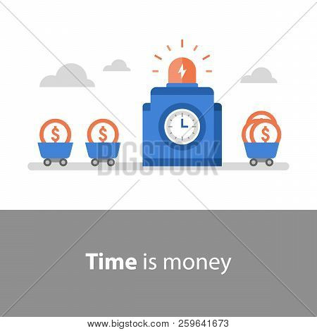Time is money, long term, fund management, return on investment, fund raising, income increase, profit growth, interest rate, mutual fund, pension savings, vector flat illustration stock photo