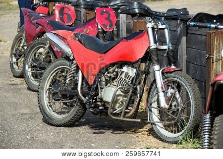 Special motorcycles for playing motoball with the ball stock photo