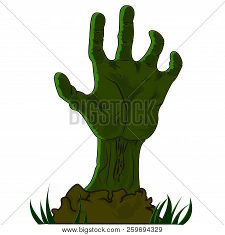 Hand drawn Halloween icon with a textured zombie hand vector illustration stock photo