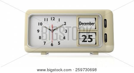 Christmas time. Retro alarm clock with date December 25th and red christmas balls on a desk. 3d illustration stock photo