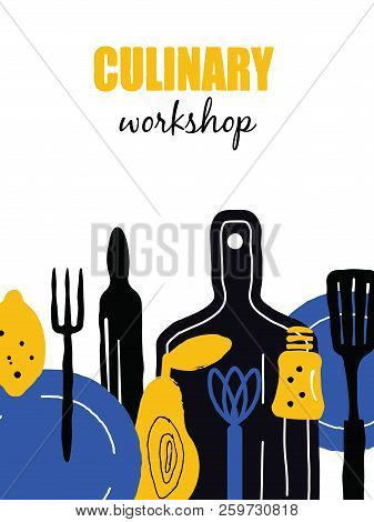 Cooking masterclass poster. Illustration of utensils and food. Vector design. stock photo
