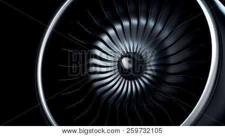 3d Illustration of jet engine, close-up view jet engine blades stock photo