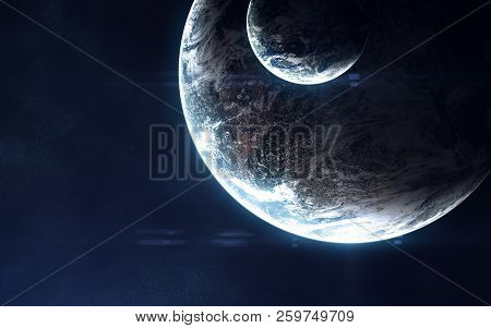 Deep space, exoplanets in light of blue star. Abstract science fiction. Image in 5K for desktop wallpaper. Elements of the image are furnished by NASA stock photo