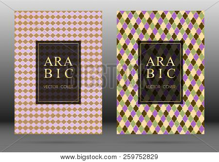 Turkish pattern vector cover page layout design collection in arabic style mosaic in gold grid. Islamic background, moroccan, turkish, persian, ottoman pattern vector template. Oriental motifs. stock photo