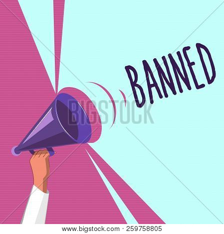 Text sign showing Banned. Conceptual photo Officially prevent someone from doing something legally prohibit stock photo