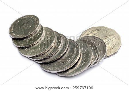 Bangladeshi taka coin isolated over white background stock photo