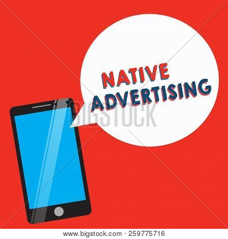 Conceptual hand writing showing Native Advertising. Business photo showcasing Online Paid Ads Match the Form Function of Webpage stock photo