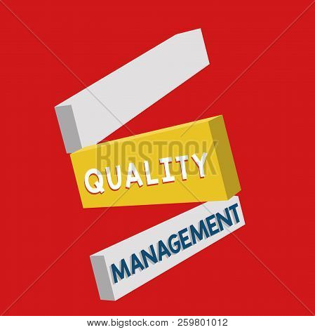Writing note showing Quality Management. Business photo showcasing Maintain Excellence Level High Standard Product Services stock photo