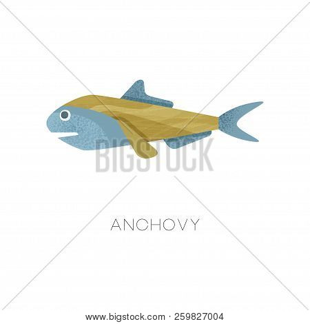 Illustration of small anchovy. Sea fish. Marine creature. Ocean life theme. Flat vector icon with texture stock photo