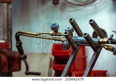 argon arc welding, Inert gas shielded arc welding in a Workshop stock photo