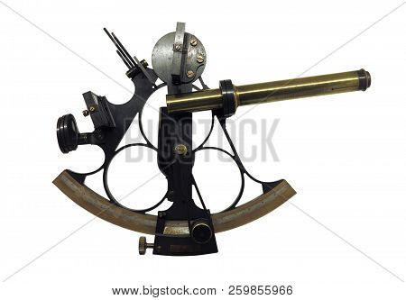 Ancient marine bronze navigation sextant Astrolabe  isolate on white background stock photo
