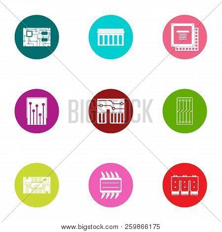 Integrated circuit icons set. Flat set of 9 integrated circuit vector icons for web isolated on white background stock photo
