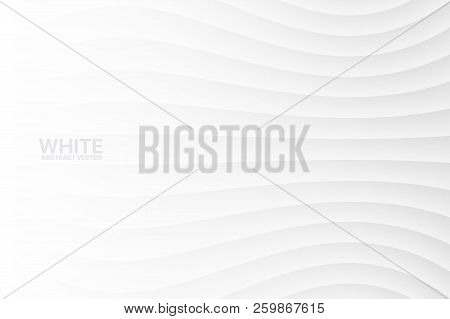 White Clear Blank Subtle Geometric Abstract Vector Background. Monotone Soft Light Wavy Surface. 3d