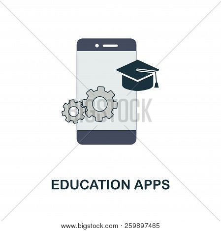 Education Apps flat icon. Monochrome style design from online education icon collection. UI and UX. Pixel perfect flat education apps icon. For web design, apps, software, print usage. stock photo