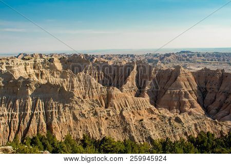 beautiful view on the canyon ,first day of autumn 2018 Badlands National Park , SD , USA stock photo