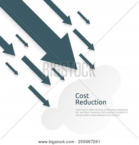 business finance crisis concept. money fall down symbol. arrow decrease economy stretching rising drop. lost crisis bankrupt declining. cost reduction. loss of income. vector illustration stock photo