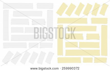 White and yellow adhesive, sticky, masking, duct tape for text on white background stock photo