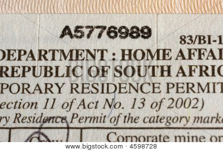 Visa document macro Republic of South Africa stock photo