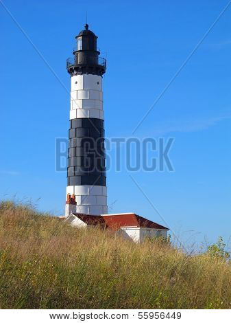 Big Sable Point Lighthouse which is located in Ludington State Park, Michigan. stock photo