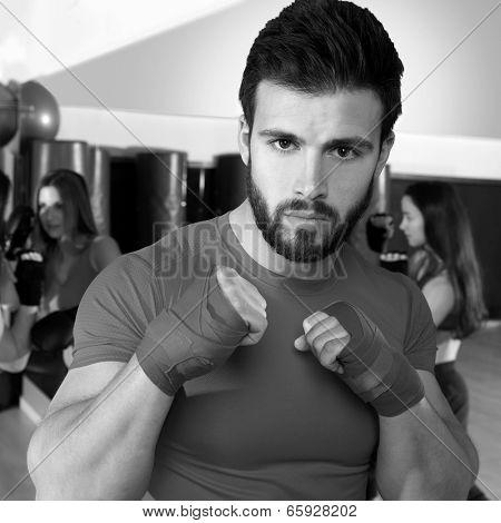 Boxing aerobox man portrait in fitness gym training workout stock photo