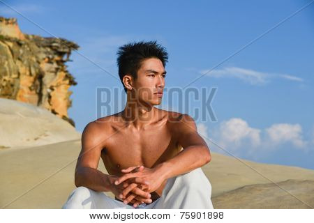 male fitness model in crossfit exercise outdoors. Healthy lifestyle concept. stock photo