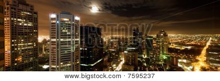 Melbourne city panorama with night skyline and lights extending to the horizon stock photo