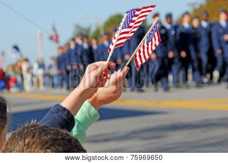 Flags at Veteran\'s Day Parade
