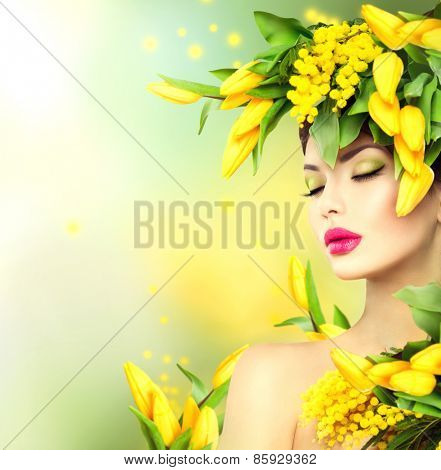 Spring woman. Beauty Spring model Girl with Flowers Hair Style. Beautiful lady with Blooming flowers