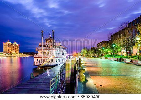 Savannah, Georgia, USA riverfront.