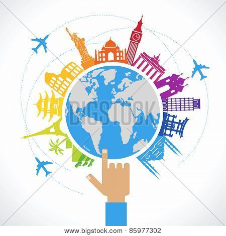 Travel concept. Flat design travel background. The hand of man shows a world map surrounded by icons