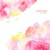 Abstract pink yellow hand drawn watercolor background,vector delineation.