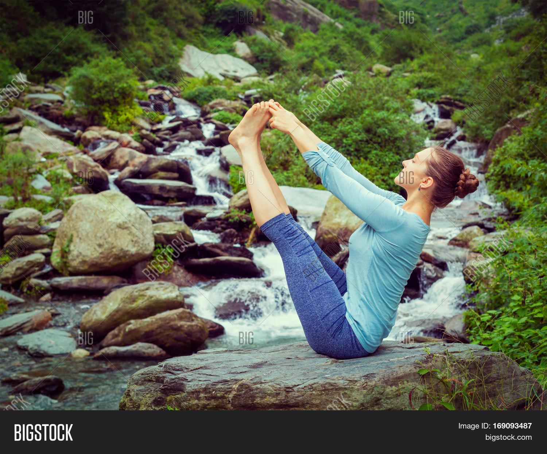 Yoga Outdoors Woman Doing Ashtanga Vinyasa Yoga Balance Asana Ubhaya Padangusthasana Big Double T 169093487 Image Stock Photo