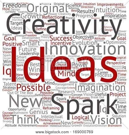 Vector concept or conceptual creative new ideas or brainstorming square word cloud isolated on background metaphor to spark, creativity, original, innovation, vision, think, achievement, smart genius stock photo