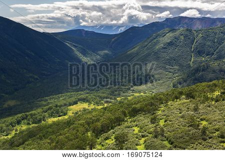 Kronotsky Nature Reserve on Kamchatka Peninsula. View from the helicopter. stock photo