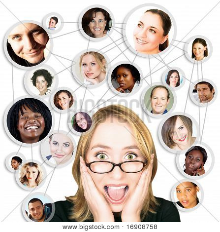 Shocked screaming young woman in glasses with her social network friends and business partners in a diagram stock photo