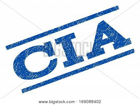 CIA watermark stamp. Text caption between parallel lines with grunge design style. Rotated rubber seal stamp with scratched texture. Vector blue ink imprint on a white background. stock photo