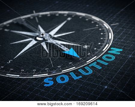 Business solution concept - Compass needle pointing solution word. 3d rendering stock photo