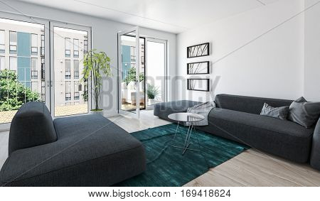Large modern luxury condo living room interior with grey upholstered couches and glass doors leading