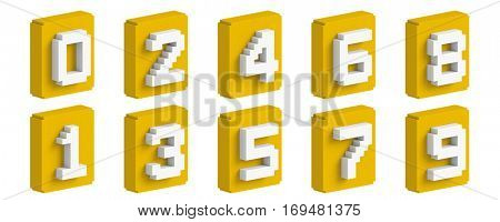 Yellow 3D colorful boxy number set.  stock photo